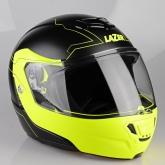 Kask motocyklowy LAZER MONACO EVO Droid Pure Glass czarny matowy żółty fluo