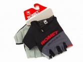 Rękawiczki rowerowe czarno-szare z czerwonym napisem ROMET