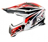 Kask motocyklowy KYT STRIKE EAGLE STRIPE biało-czerwony