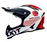 Kask motocyklowy KYT STRIKE EAGLE KMX biały/czerwony