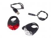 Zestaw lampek rowerowych SPANNINGA JET USB