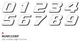 PRINT zestaw 10 naklejek (cyfry) w kolorze białym