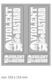 "PRINT naklejka ""violent bastard"" białe"