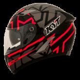 Kask motocyklowy KYT FALCON FASTER czarny/czerwony