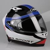 Kask motocyklowy LAZER OSPREY Carbon Light Hypersport czarny/carbon/biały/niebieski