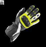 Rękawice motocyklowe BUSE Pit Lane czarno-biało-neonowe 10