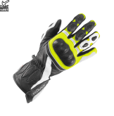 Rękawice motocyklowe BUSE Pit Lane czarno-biało-neonowe 12