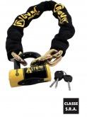 AUVRAY zestaw  łańcuch 120cm z ogniwem lasso z kłódką XTREM MINI  - długość 120cm, średnica 12mm